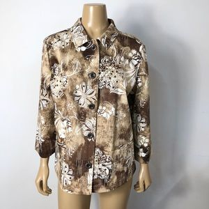 AdditionsbyChico's floral button down shirt jacket